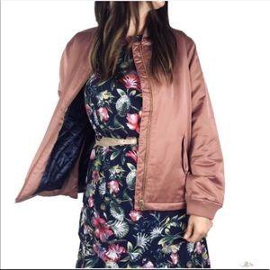 J. Crew S pink satin zipper side bomber jacket